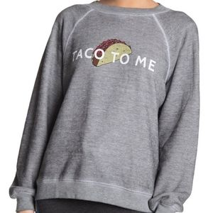 Wildfox XS Taco To Me Gray Pullover Sweatshirt